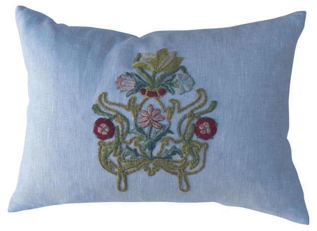 Linen Pillow w/ Floral Appliqué