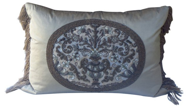 French Metallic Embroidered Pillow