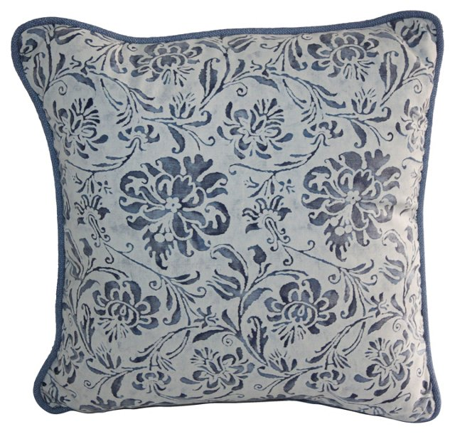 Blue & White Floral Fortuny Pillow
