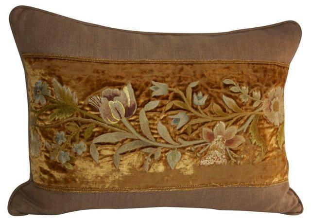 Pillow w/ Antique  Embroidered Velvet