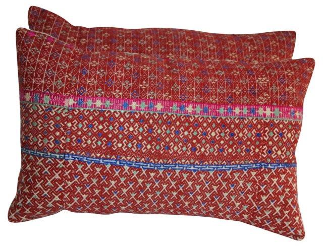 Red Hmong Textile Pillows, Pair