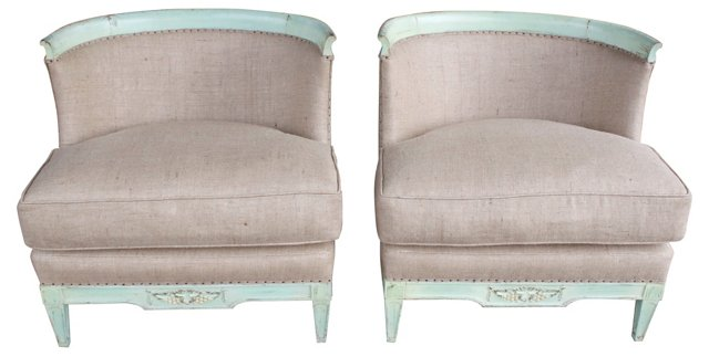 Italian Painted Burlap  Chairs, Pair