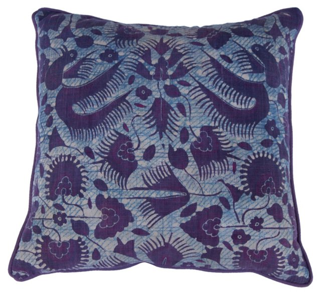 Purple & Blue Batik Pillow