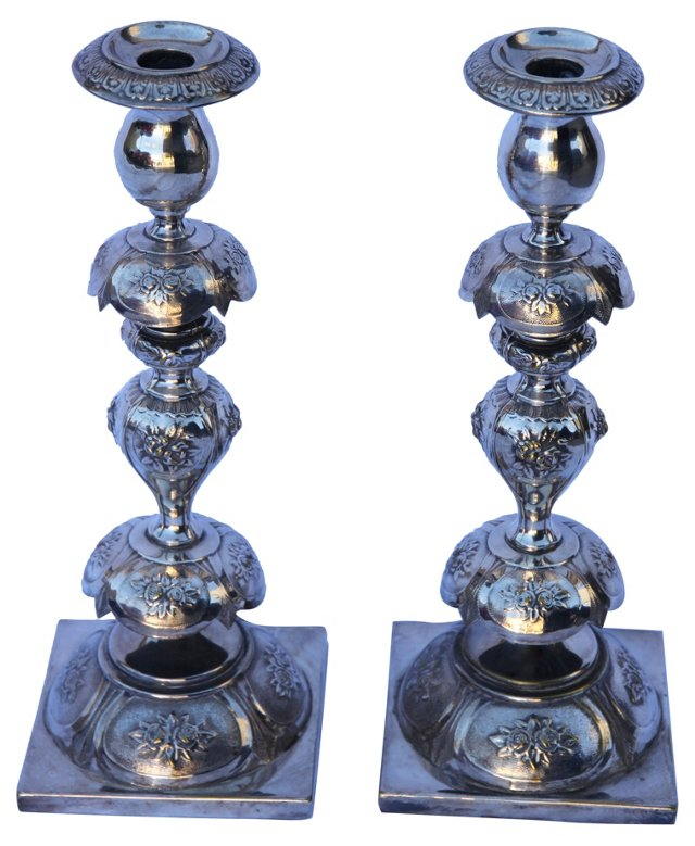 Silver Continental Candleholders, Pair