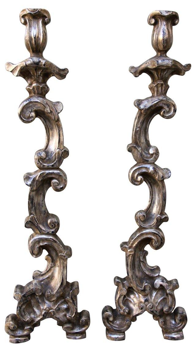 Silverleaf Candlesticks, Pair