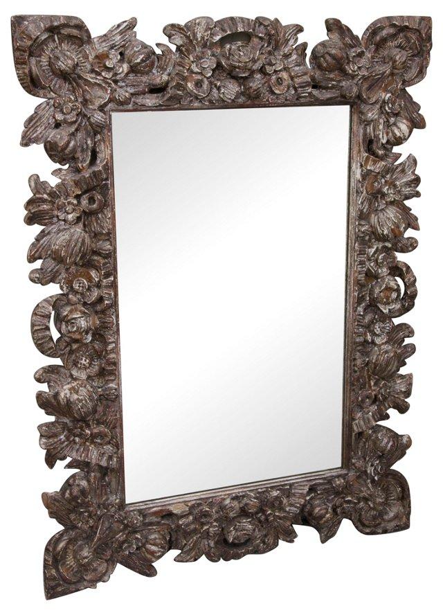 Italian Carved Silver Leaf Mirror