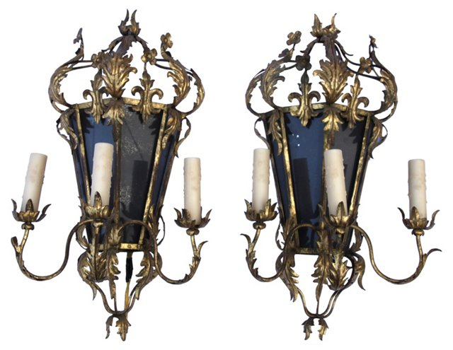 French Tole Mirrored Sconces, Pair