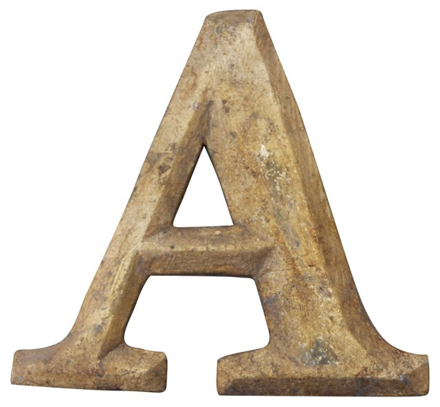 Carved Giltwood Letter A