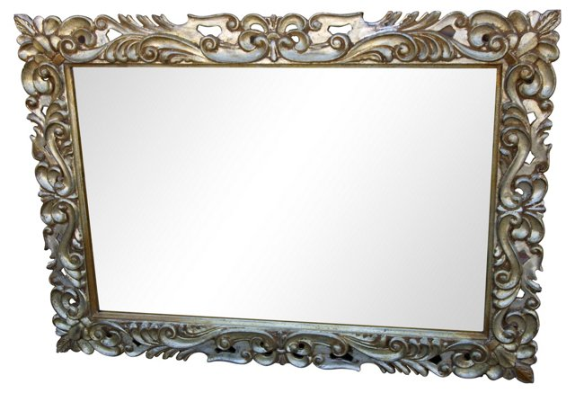 Italian Carved Silver Mirror