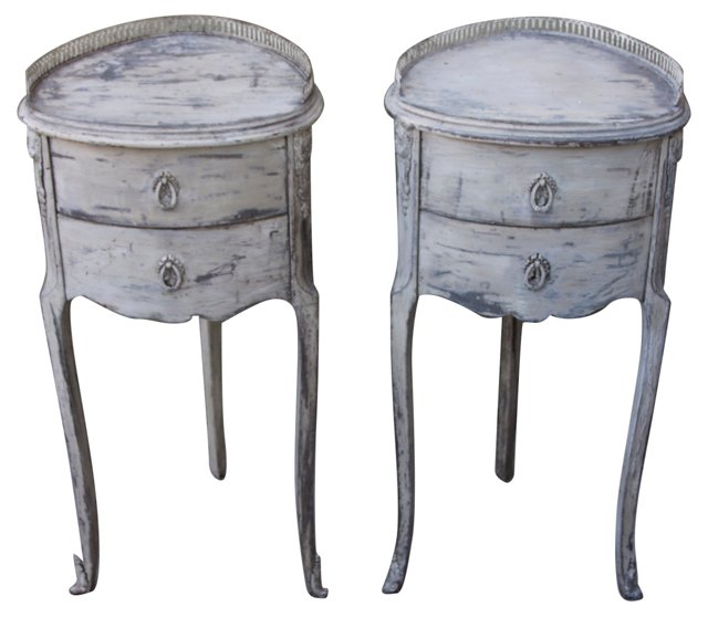 French Painted Side Tables, Pair