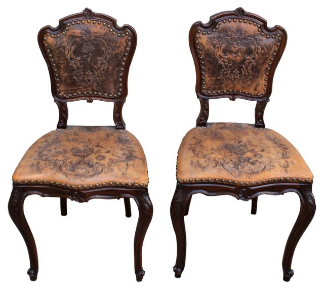 Embossed Leather Side Chairs, Pair