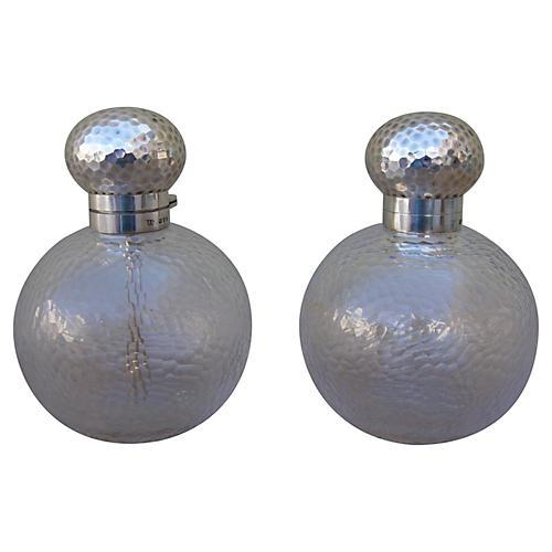 Sterling & Crystal Perfume Bottles, Pair
