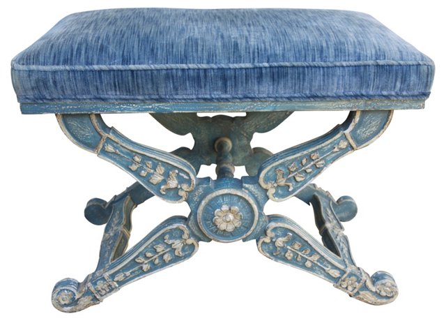 Carved Italian   Painted Bench