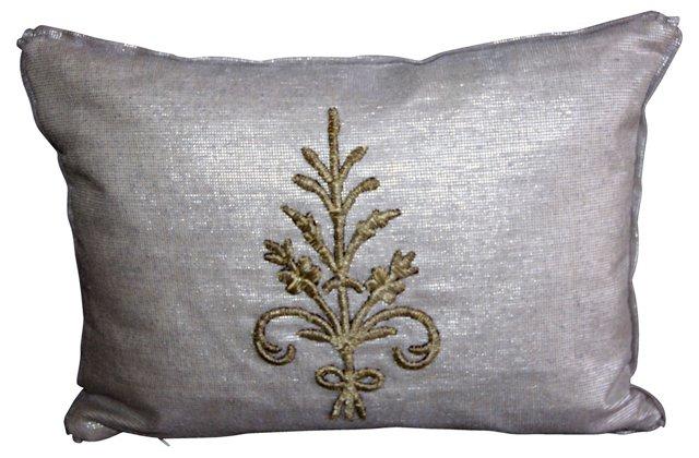 Silver Metallic Appliquéd Pillow