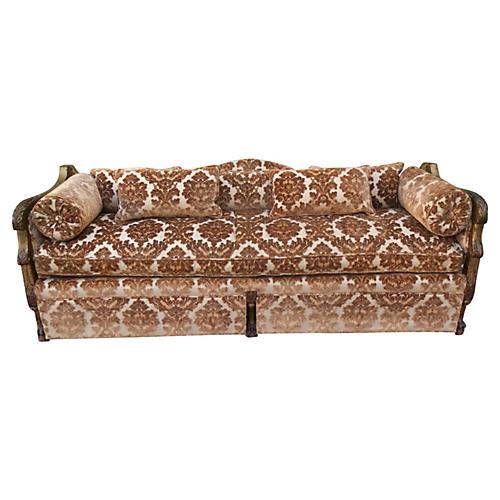 Carved Cut Velvet Upholstered Sofa