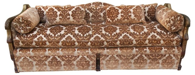 Carved Giltwood Upholstered Sofa