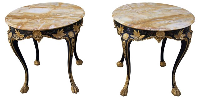Italian Painted & Gilded Tables, Pair