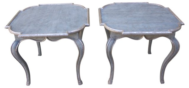 Painted & Silver Gilt   Tables, Pair