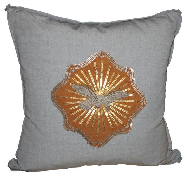 Cotton Pillow w/ Metallic  Dove Appliqué