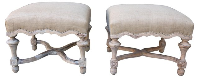 French Benches w/ Burlap, Pair