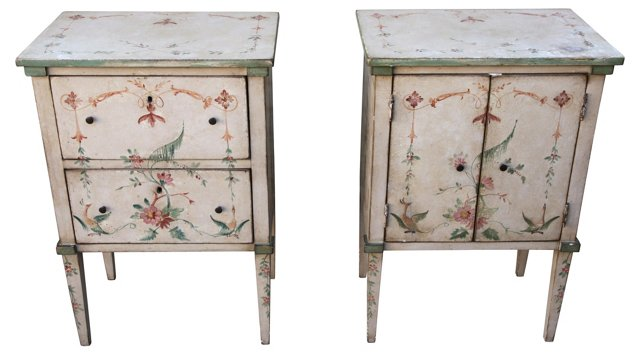 Italian Hand-Painted   Tables, Pair