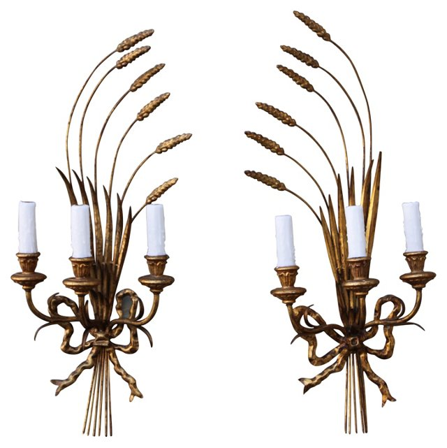 Gilt Metal Wheat Sconces, Pair