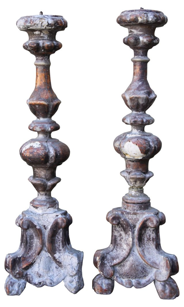 19th-C.  Candlesticks, Pair