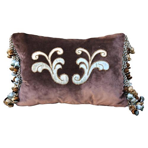 Italian Appliquéd Silk Velvet Pillows