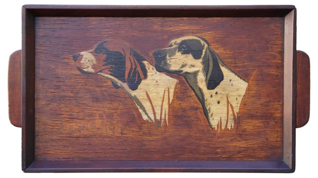 Painted Wood Retriever Tray