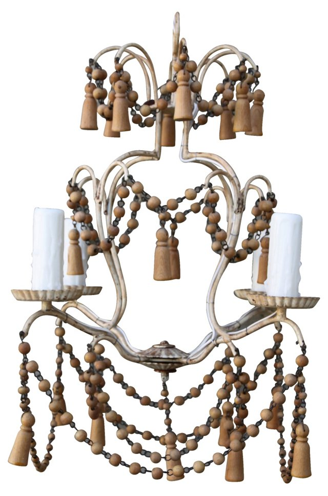 Italian  Wood Beaded Chandelier