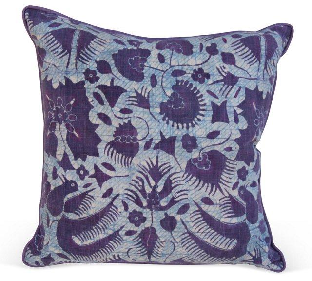 Pillow w/ Purple & Blue Batik Cotton