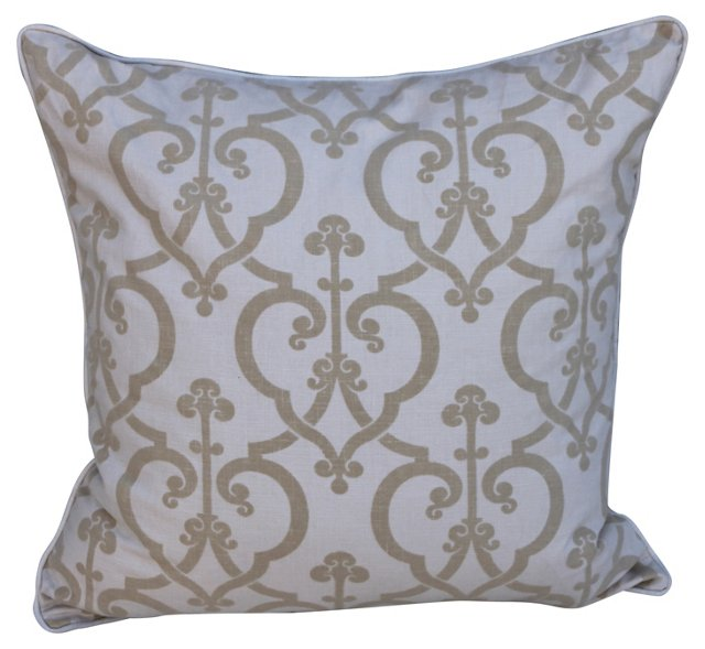 Pillow w/ Cream Linen & Velvet