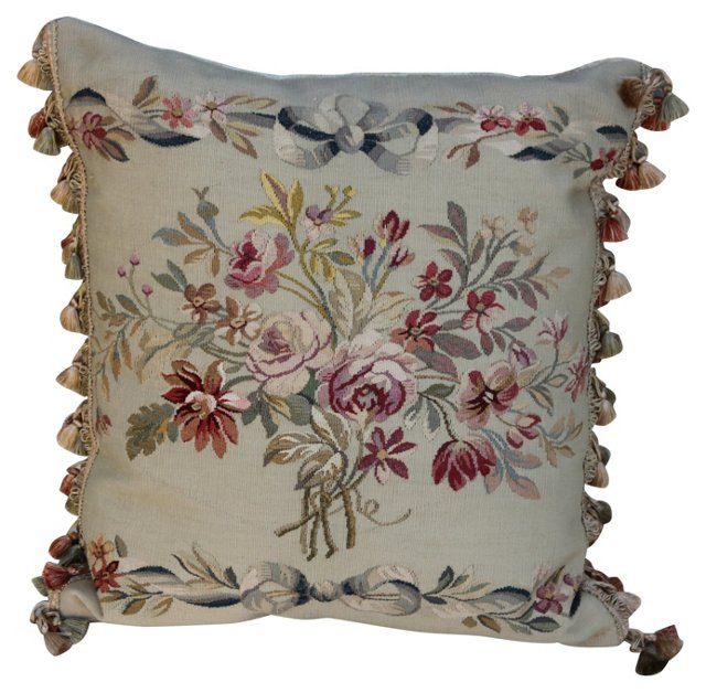 Pillow w/ Antique French Aubusson