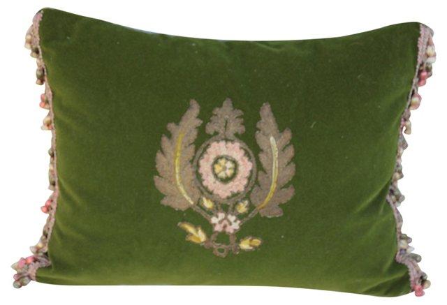 Green Velvet  Pillow w/ Appliqué