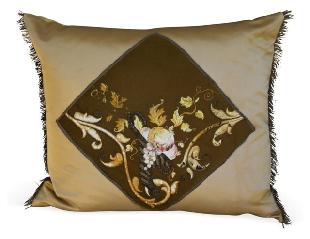 Olive Silk Embroidered Cornucopia Pillow