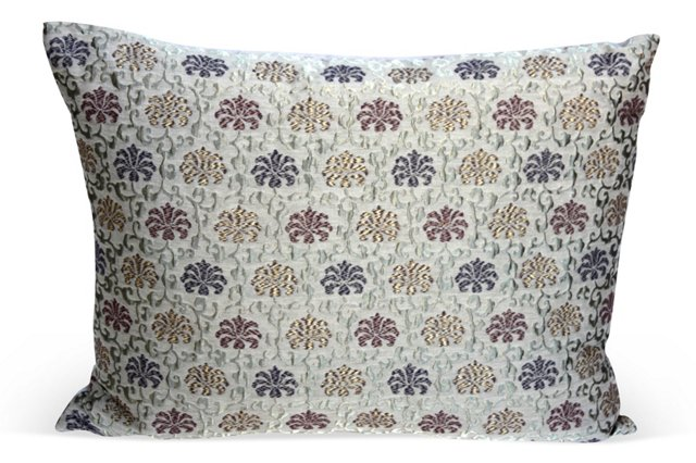 Metallic Taupe Patterned Pillow