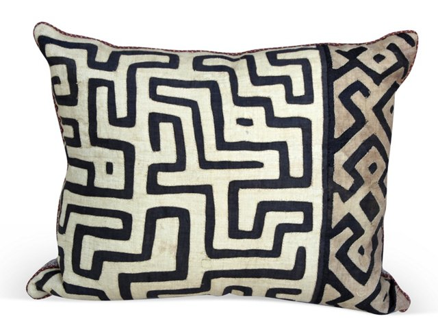 Cream & Black Kuba Cloth Pillow