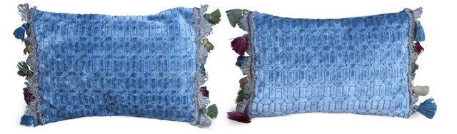 Cut Velvet   Blue Pillows, Pair