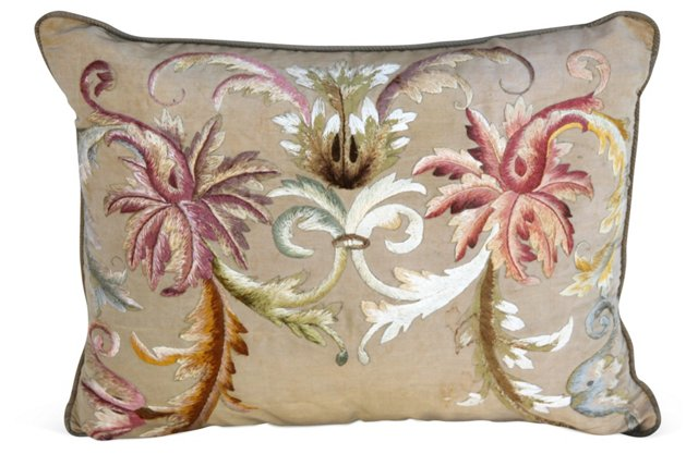 Pillow w/ Antique Embroidered Silk