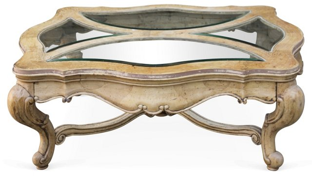 French Wood & Glass Coffee  Table