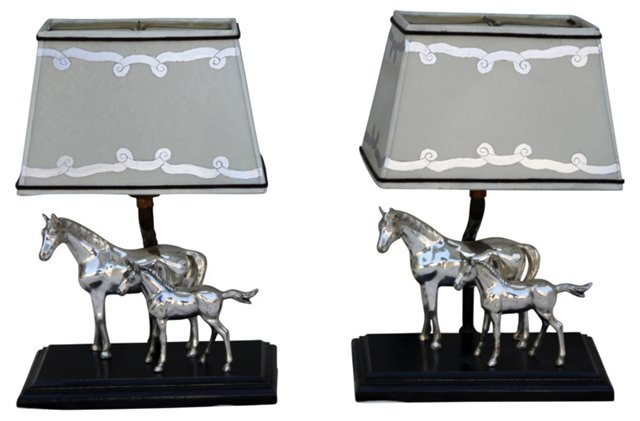Silver Horse Lamps, Pair