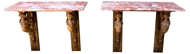 French Figural Carved Consoles, Pair