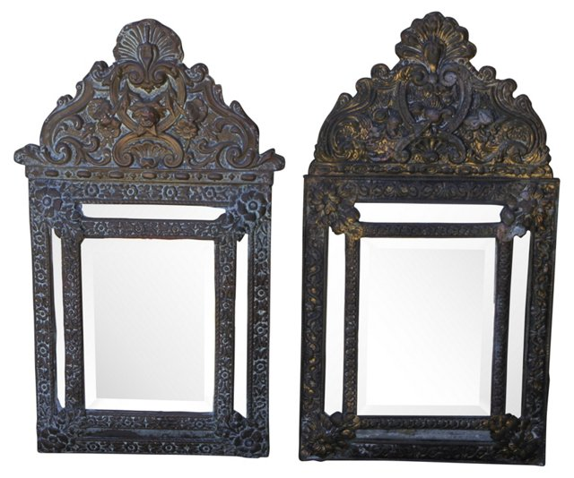 French Repoussé Brass Mirrors, Pair