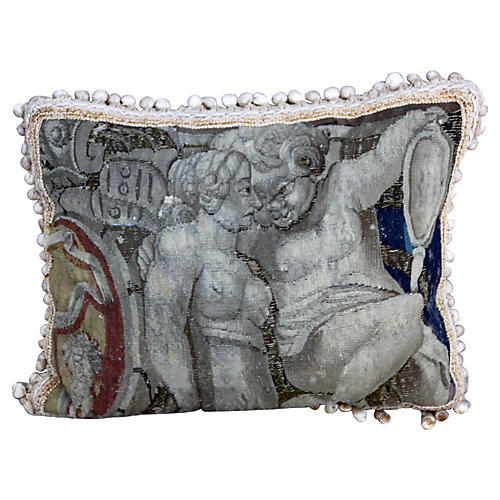 Pillow w/ 18th-C. Tapestry Fragment