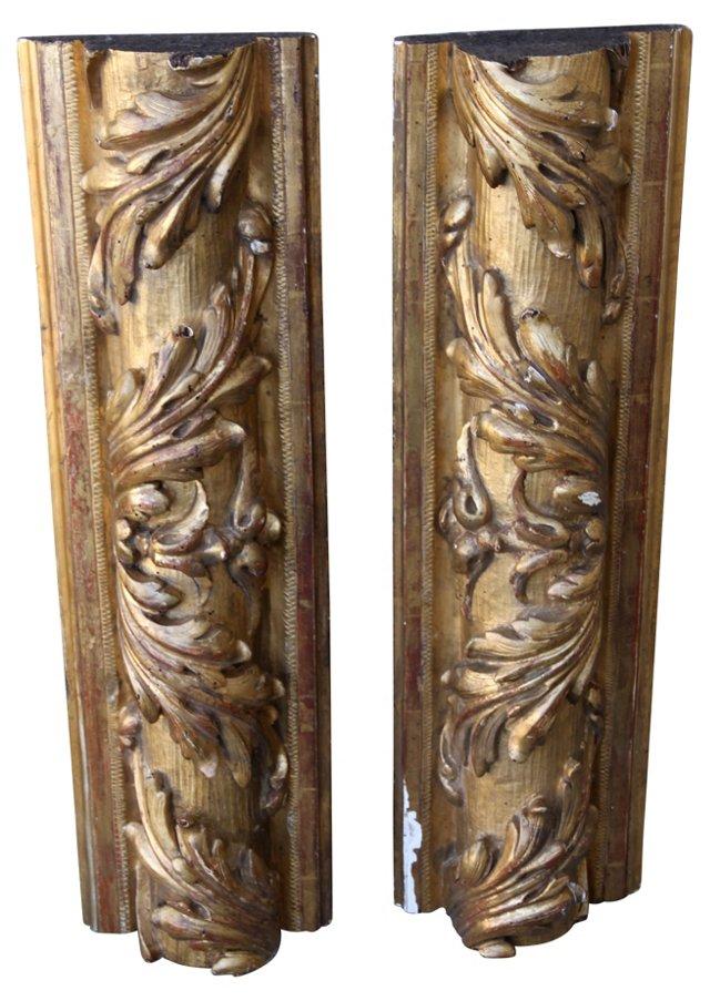 Italian   Giltwood Carvings, Pair