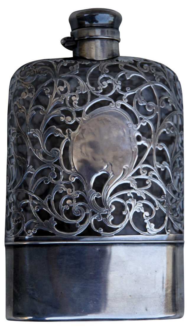 English Sterling & Crystal Flask