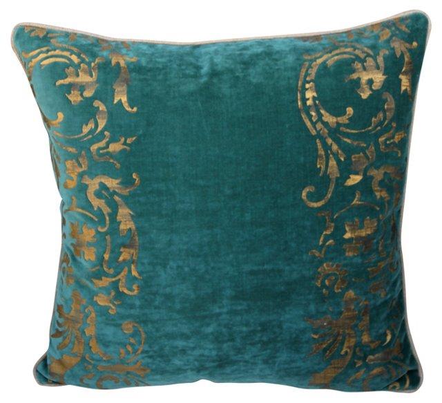 Gold Stenciled Velvet Pillow