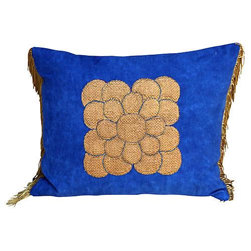 Metallic Gold Appliquéd Linen Pillow