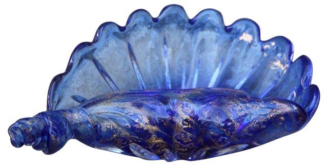 Cobalt Blue Murano Shell Dish