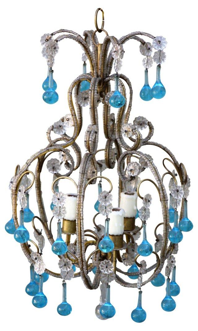 Italian Aqua Crystal Chandelier